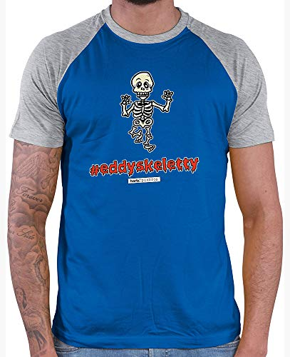 HARIZ  Herren Baseball Shirt Pixbros Eddyskeletty Halloween Kostüm Horror Kürbis Inkl. Geschenk Karte Royal Blue/Grey Melange M