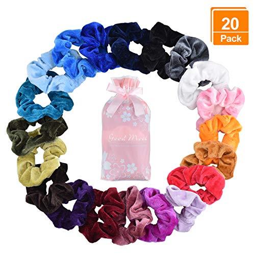 20 Stücke Scrunchies Samt, Bunte Haargummis Elastische Haarbänder Gummibänder für Mädchen Damen Pferdeschwanz Haarschmuck (Make Up In Den 80er Jahren)