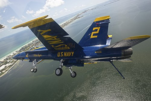 Stocktrek Images - An F/A-18 Hornet of The Blue Angels in Flight Over Pensacola Beach Florida. Photo Print (86,87 x 57,91 cm)