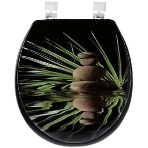 Abattant Toilette WC en Mousse Imprimé Deco Zen Galets Bambou Fond Noir