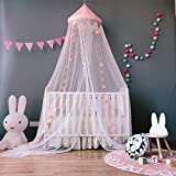 SJLED Ciel de lit Fille Princesse dôme Moustiquaire Doux Décoration à Suspendre Nook Tente pour bébé Enfants, 299,7x 58,4cm (Rose)
