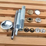 Clothing Accessories Best Deals - 30 Completed Sets 12.5mm Silver & Antique Brass Snap Fasteners Poppers Sewing Clothing Jacket Jean Bag Shoes Buttons Studs Kit with Fixing Tool For Clothing and Accessories - Press Studs for Adding Secure Closure to Jackets, Jeans, Bags, Straps and Ot