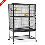 Popamazing 2 Layer Large Bird Breeding Cage/Aviary for Parrot/Cockatoo/Finch Bird with Perch Stand and Wheels