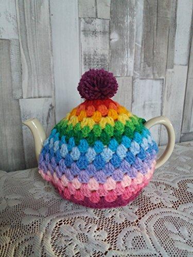 Hand crochet rainbow tea cosy/cozy. Vintage shabby retro