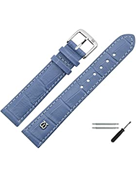 Uhrenarmband 12mm Leder Blau Matt Prägung, Alligator - Inkl. Federstege / Werkzeug - MADE IN GERMANY - Uhrband...