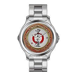 FDC Weihnachten Geschenk Uhren Damen Fashion Japanisches Quarz-Datum Edelstahl Armband Armbanduhr Japanisches Kalligrafie-Karate-do Armbanduhr Zazzle