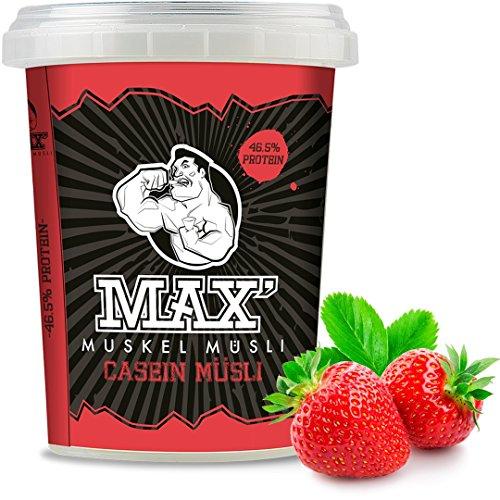 Weight Watchers Erdbeer (MAX MUSKEL MÜSLI Casein Low Carb Protein-Müsli ohne Zucker-Zusatz & Nüsse - wenig Kohlenhydrate viel Eiweiss Sportlernahrung für Muskelaufbau & Abnehmen speziell für abends 100g ToGo Becher (Erdbeere))