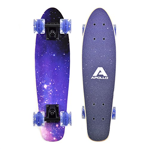 Apollo Wooden Fancy Board, Vintage Cruiser Komplettboard mit LED Wheels, Größe: 22.5'' (57,15 cm), Farbe: Sternenhimmel / Lila