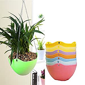 frische idee blumen h nget pfe mit haken und kette pflanzen bertopf f r drau en dekor korb. Black Bedroom Furniture Sets. Home Design Ideas