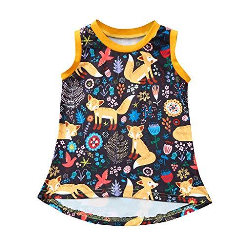 MädchenKleid Babykleidung, YanHoo Kleinkind Kinder Baby Mädchen Cartoon Floral Prinzessin Lässige Kleidung Sommerkleid Kleidung Mädchen Ärmelloses Trägershirt Kleid Small ()