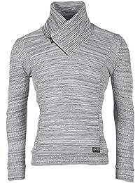 BLZ jeans - Pull homme gris chiné à col châle