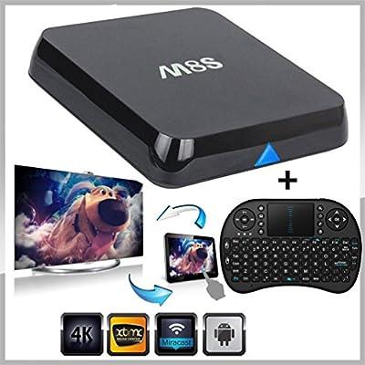 [With Mini Wireless Keyboard] SEGURO M8S TV Box Amlogic S812 Quad Core Fully loaded Add-ons and KODI H.265 Airplay Miracast 3D Blu-ray