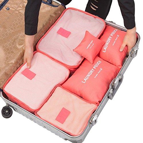 Set von 6Home & Travel Aufbewahrungstasche, witery Griff Bag in Bag Kleidung Unterwäsche Quilt Tidy Verpackung Fall Travel Gepäck Aufbewahrung Organisatoren Mesh Taschen Beutel, Nylon, [Upgrade Design]Rose Red, 6 different size