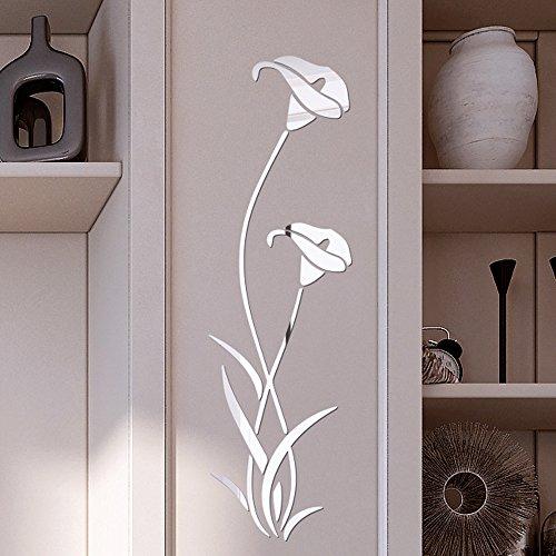 OHQ 3D Wandaufkleber DIY Vase Blume Baum Kristall Acryl Spiegel Aufkleber Fenster Abziehbilder Wand Dekoration TV Hintergrund Deko (Silver)