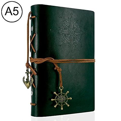 Foonii Vintage Retro Leather Cover Notebook Klassische Travel Journal Tagebuch Leeren Kraft Notebook Korsar(Dunkelgrün)