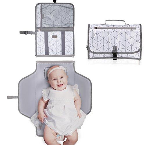 GHB Tragbare Wickelunterlage Wickeltisch für unterwegs Wickelauflage Wasserdicht und langlebig,Bestes Geschenk für Baby Quick und Easy Wickel Kit