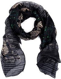 Calonice Amorino Damen Schal Tuch Schwarz Totenkopf Muster 100% Polyester (L) 185x95 cm (LxH) 2001