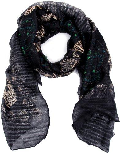 Damen Kleidungsstück für jede Jahreszeit Casual Party Büro Modisch Stylish Schal schwarzes Totenkopf-Muster 100% Polyester (L) 185x95 cm (LxB) 2001 (Fendi Hüte Für Frauen)