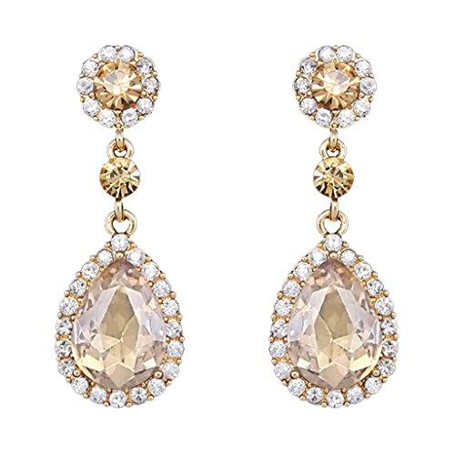 Autiga® Ohrringe Zirkonia Strass Tropfen Tränen Form Braut Hochzeit Brautschmuck silber-/ gold-farben gold-champagner