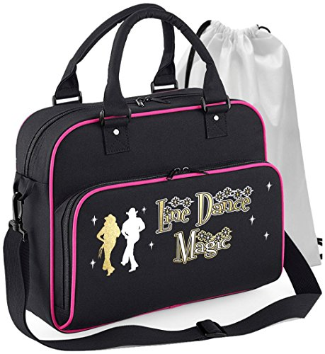 Line Dancing - Dance Magic - Schwarz + Rosa Pink - Tanztasche & Schuh Tasche Dance Bags MusicaliTee (Rosa T-shirt Cowboy Damen)