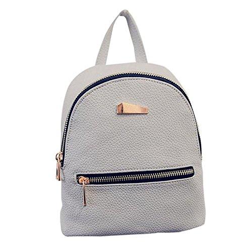 Mini Rucksack Leder mit Reißverschluss Damen modische kleine Daypack Schultasche Mädchen UFACE