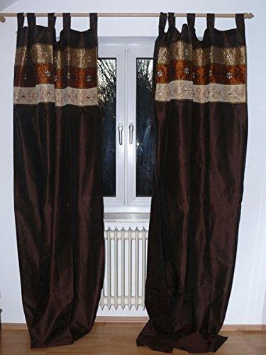 Orientalischer Vorhang Schlaufen Schal Stoff Fenster Deko Indien Bestickt 110 cm x 250 cm