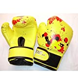 QUANJI Guantes de Boxeo Niños Sparring Punch Bag Fight Muay Thai Grappling Fight Mitones Artes Marciales Entrenamiento Kickboxing, Yellow