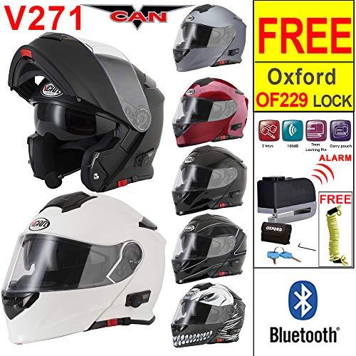 6696d275227 VCAN V271 Blinc Bluetooth Flip up Motorbike Motorcycle Helmet + Oxford  OF229 Alarm Motorbike Disc Lock