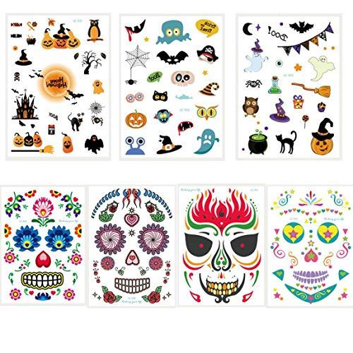 Halloween temporäre Tattoo Aufkleber und 4 Stück Gesicht Aufkleber in 1 Paket, einschließlich Fledermaus, Katze, Kürbis, Teufel, Elf, Engel, - Paint Halloween-kürbis-body