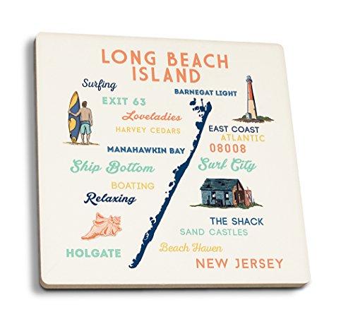Long Beach Island, New Jersey-Schrift und Symbole, keramik, mehrfarbig, 4 Coaster Set - Long Beach Island, New Jersey