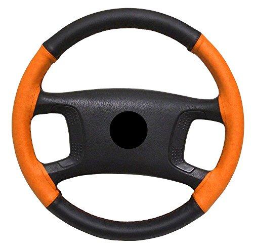 Aerzetix - Lenkradbezug Lenkradhülle Lenkradschoner für Nähen Echtes Leder Farbe: schwarz und orange