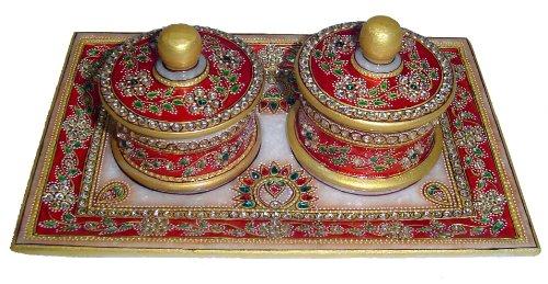 9″ x 6″ Jaipuri Gold Kundan Meenakari Painted Dining Table Tray (Red Colored Supari Dan) image - Kerala Online Shopping