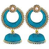 GOELX Silk Thread Designer Turquoise Blue Earring Jhumki Set for Women
