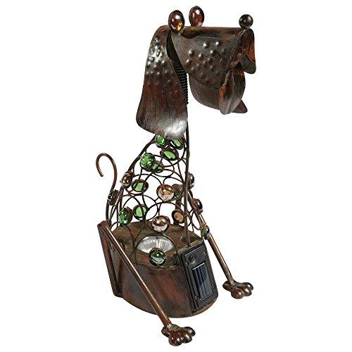 2er Set LED Solar Leuchten Hund Figuren Motiv Glas Steine Steh Stand Lampen Außen Dekorationen