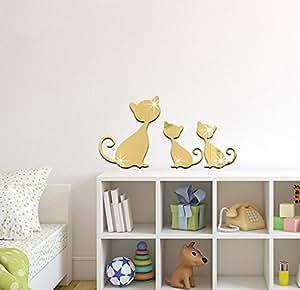Extsud adesivo murales carta da parete 3 gatti wall for Specchio da parete camera amazon