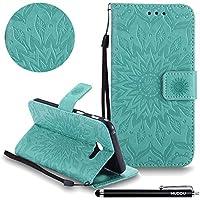Handyhülle Samsung Galaxy A5 2017,HUDDU Sonnenblume Embossed Grün Schutzhülle Samsung Galaxy A5 2017 Hülle Flip... preisvergleich bei billige-tabletten.eu