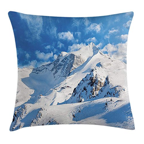 Lake House Decor Throw Pillow Cushion Cover, Mountain Landscape Ski Slope Winter Sport Telfer and Snowboarding Image, Decorative Square Accent Pillow Case, 18 X 18 Inches, White Blue