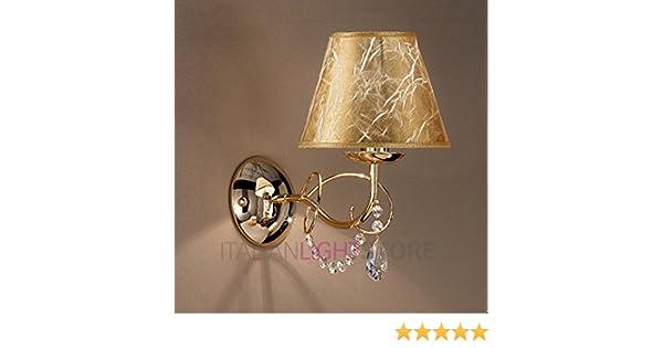 Lampada da parete applique in metallo oro paralume oro con