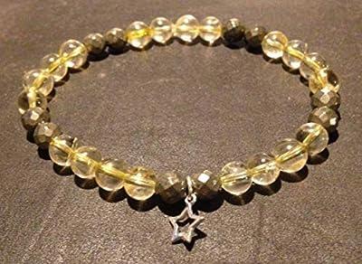 bracelet CITRINE PYRITE et étoile Argent 925 attire l'argent abondance chance pierre naturelle semi-précieuse