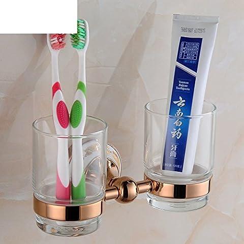 Continental aumentó portavasos cepillo de dientes de oro/titular de cepillado Tumbler/Cristal portavasos doble