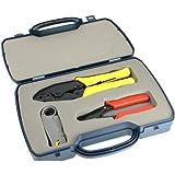 Aban Kit d'outils à sertir BNC pour caméra de vidéosurveillance Comprend pince à sertir/pince à dénuder et dénudeur pour câble coaxial RG-58/RG-62