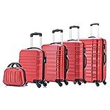 Jalano Kofferset 5 teilig Handgepäck Hartschale Koffer 4 Rollen Rollkoffer S-XXL, Farbe:rot