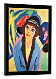 Gerahmtes Bild von Ernst Ludwig Kirchner Portrait of Gerda, Kunstdruck im hochwertigen handgefertigten Bilder-Rahmen, 50x70 cm, Schwarz matt