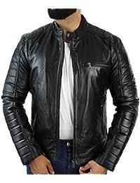 Veste Homme Cuir véritable Coupe cintrée Slim Style rétro Biker Motard  Fermeture Zip en Noir ou 5e9f48a6f23