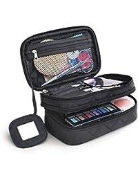 Multifunktional 2 Schicht Make Up Tasche schwarz Kosmetik Make-up-Pinsel Organizer mit Tragegriff für Reisen & Home