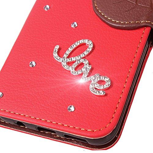 Portafoglio Case per iPhone 7 Plus,Diamante Custodia in Pelle per iPhone 7 Plus,Leeook Luxury Bling DIY Fatto a Mano Glitter 3D PU Pelle Novit¨¤ Retro Foglia Design Fata Ragazza Modello Strass Brillan Amore Rosso