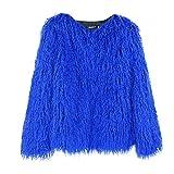 ITCHIC Soprabito Giacca in Peluche Cappotto Caldo Manica Lunga Outwear Moda Donna Cappotto Corto da Donna in Pelliccia Sintetica Blu Pelliccia di Pavone