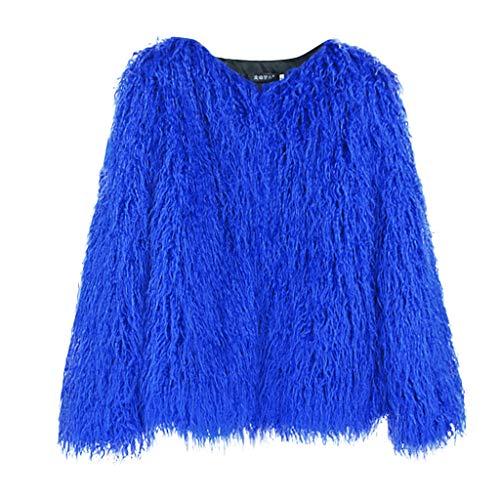r Patchwork Jacken Mantel Der Art Und Weisefrauen Warmer Langer HüLsen PlüSch Mantel Coat Jacke Tops Outwear Elegante Strickjacke Outdoor Mantel ()