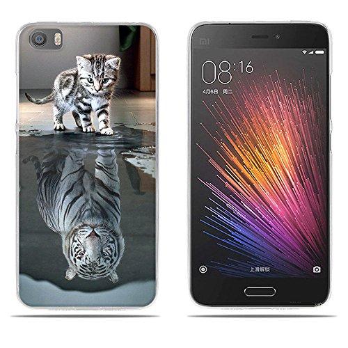 Fubaoda Xiaomi Mi5 Hülle,[Katze Wird Tiger] Künstlerische Malerei-Reihe 3D Weich Ultra Slim TPU Case Schutzhülle Silikon Case für Xiaomi Mi5