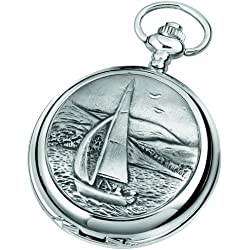 Woodford Quartz Pocket Watch, 1911/Q, Men's Chrome-Finished Sailing Scene Pattern with Chain (Suitable for Engraving)
